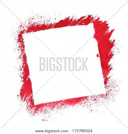 Red square stenciled frame isolated on the white background