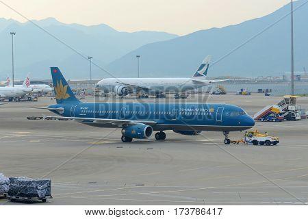 HONG KONG - AUG. 29, 2016: Vietnam Airlines A321 at Hong Kong International Airport Chek Lap Kok Airport.