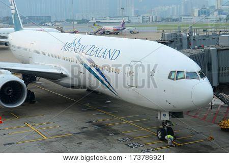 HONG KONG - AUG. 29, 2016: Air New Zealand Boeing 777-200ER at Hong Kong International Airport Chek Lap Kok Airport.