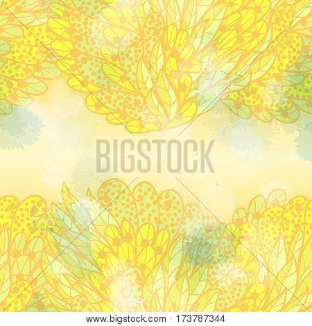 Hand drawn seamless yellow and green elegant invitation card design with swirls