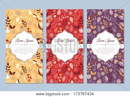 Cute vintage doodle floral cards set for invitation label banner wedding party baby shower hen-party mother's day valentine. Beautiful background with gentle flowers and leaves. Vector