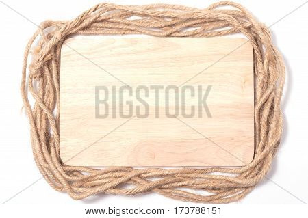 frame rope and wood copy space for text