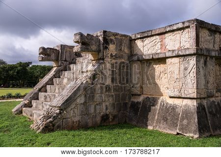 Jaguar heads of the Venus Platform, Ancient Maya Ruins, Chichen Itza Archaeological Site, Yucatan, Mexico