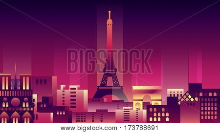 Vector illustration background city night neon style architecture buildings monuments town country travel card, cover, France, monuments, Paris, French culture, landscape, Eiffel Tower, capital