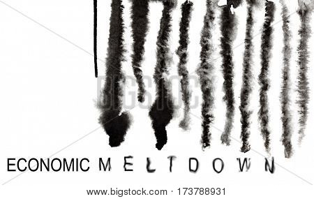 Economic meltdown. Melted down barcode. Economic recession and financial crisis concept