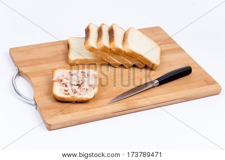 Toast Bread With Pate And Kitchen Knife