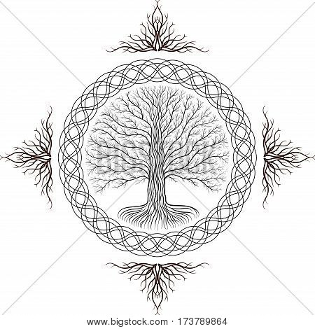Druidic Yggdrasil tree round black and white gothic logo. ancient book style.