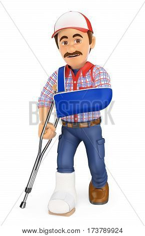 3d working people illustration. Worker with plaster leg and arm in sling. Work accident. Isolated white background.
