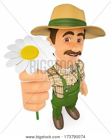 3d working people illustration. Gardener with a daisy. Spring. Isolated white background.