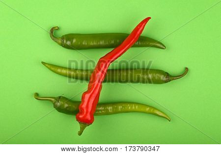 Green Fresh Jalapeno And Red Hot Chili Peppers