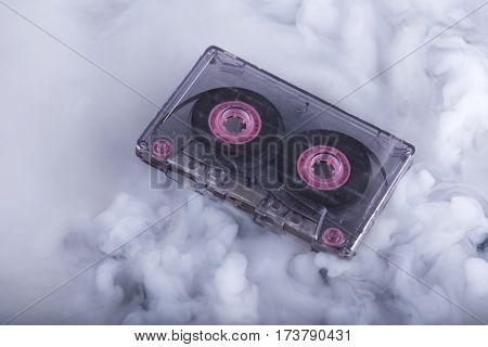 Retro scratched cassette tape. Conceptual photography sound cloud. Selective focus