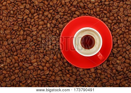 Espresso In Red Cup With Saucer On Coffee Beans