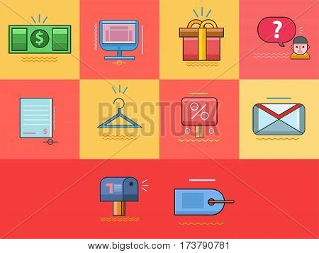 E-Commerce   Set of great flat icons with style filloutlines icon and use for electronics, ecommerce, marketing and much more. poster