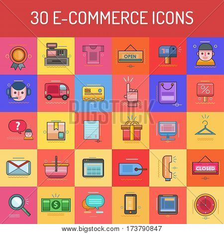 E-Commerce | Set of great flat icons with style filloutlines icon and use for electronics, ecommerce, marketing and much more.
