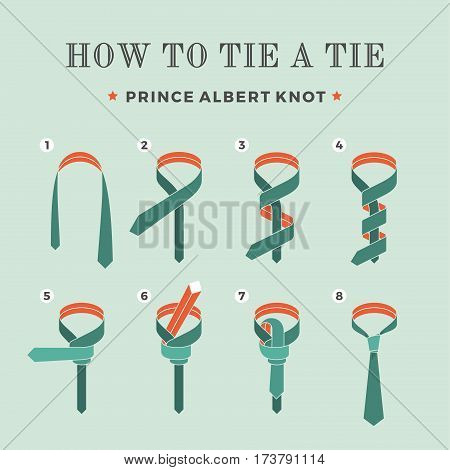 Instructions on how to tie a tie on the turquoise background of the six steps. Oriental knot. Vector Illustration