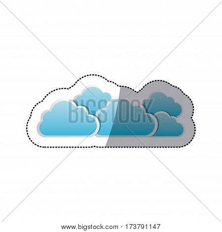 sticker set collection clouds tridimensional in cumulus shape vector illustration