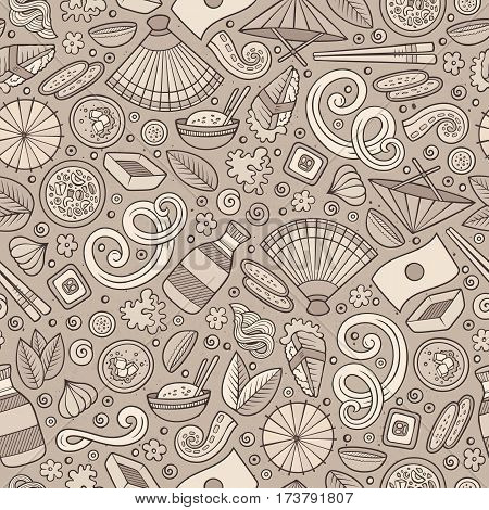 Cartoon cute hand drawn Japan food seamless pattern. Monochrome with lots of objects background. Endless funny vector illustration. Sepia backdrop with japanese cuisine symbols and items