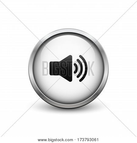 High volume white button with metal frame and shadow