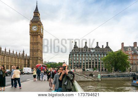 LONDON, UNITED KINGDOM - June 21, 2016. Street view of Traditional Big Ben in London, United Kingdom