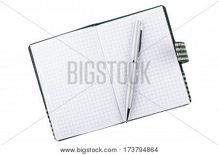 Notepad and ballpoint pen isolated on white background