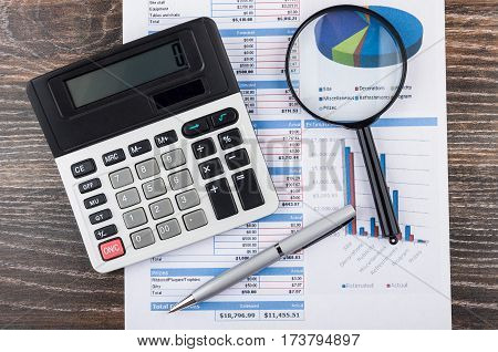 Printout With Planning Event, Electronic Calculator, Magnifying Glass, Ballpoint Pen