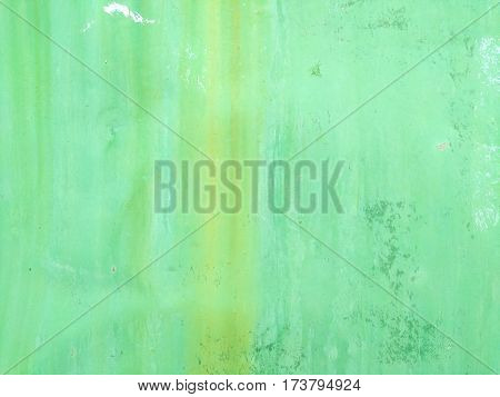texture of aluminum green wall with rust close up