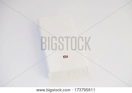 Hai, Ukraine - February 28, 2017:  Xiaomi Power Bank 20000 Mah Isolated On White Background.