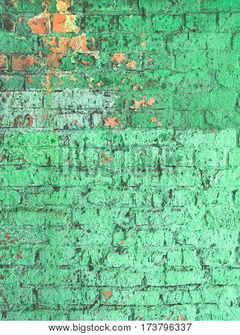 piece of greenery color brick wall close-up