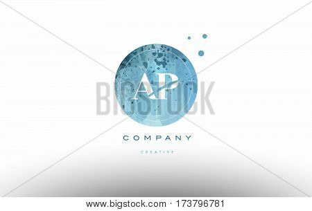 Ap A P  Watercolor Grunge Vintage Alphabet Letter Logo