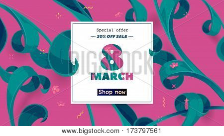 Festive frame decorated with abstract floral elements. Limited offer 20 percent off. Special design for Mother's day, 8 March and Easter. Vector card with purple background