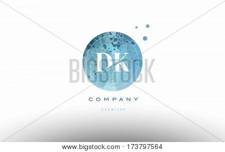 Dk D K  Watercolor Grunge Vintage Alphabet Letter Logo
