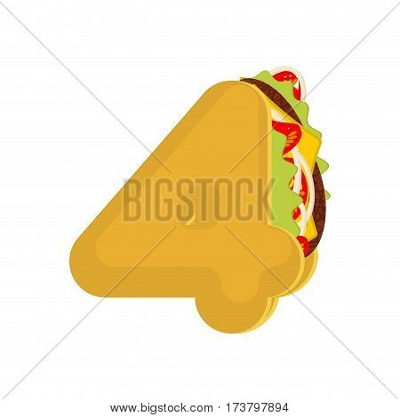 Number 4 Tacos. Mexican Fast Food Font Four. Taco Alphabet Symbol. Mexico Meal Abc