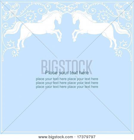 beautiful unicorn frame on a blue background