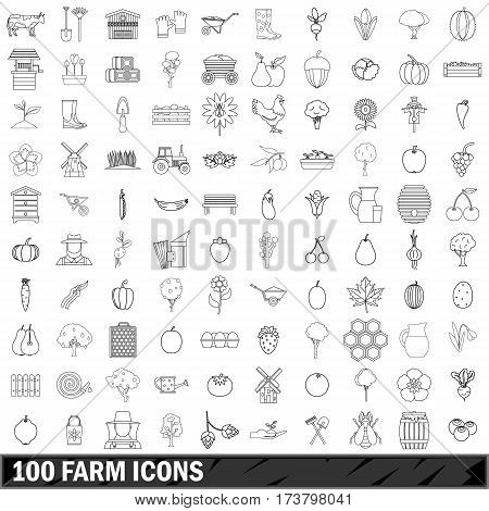 100 farm icons set in outline style for any design vector illustration
