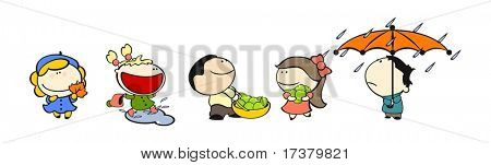 set of images of funny kids on a white background #13, autumn theme