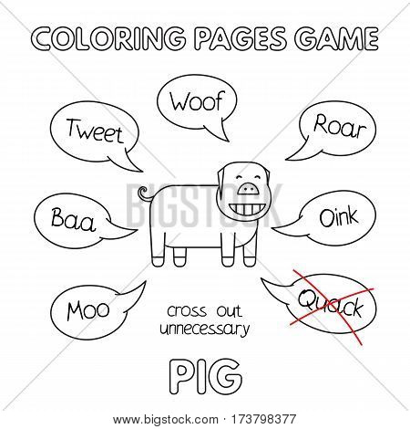Funny pig kids learning game. Vector coloring book pages for children