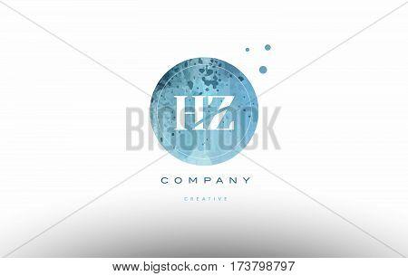 Hz H Z  Watercolor Grunge Vintage Alphabet Letter Logo