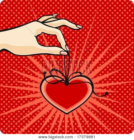Comics style Valentine's day card with a female hand, holding a heart