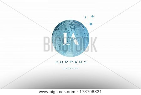 Ia I A  Watercolor Grunge Vintage Alphabet Letter Logo