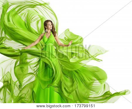 Fashion Woman Flying Dress Model in Green Gown Waving Chiffon Fabric Flowing Cloth Isolated over White background