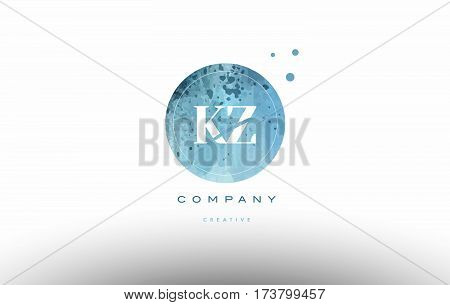 Kz K Z  Watercolor Grunge Vintage Alphabet Letter Logo