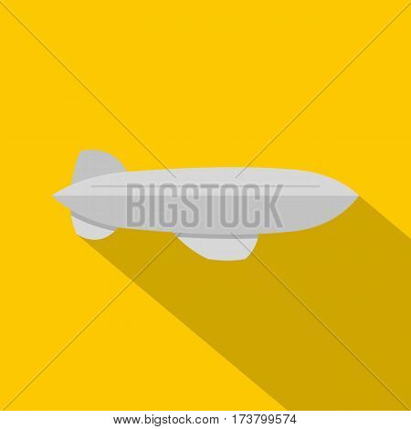 Gray blimp aircraft flying icon. Flat illustration of gray blimp aircraft flying vector icon for web isolated on yellow background