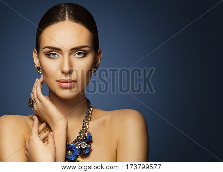 Woman Beauty Face Makeup Beautiful Fashion Model Make Up Portrait Elegant Lady Touching Face Skin Blue Jewelry