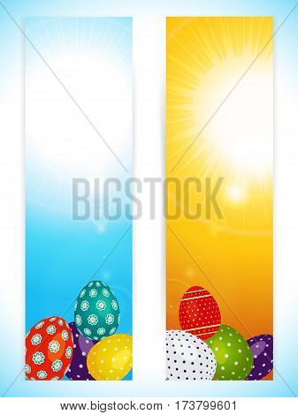 Two Vertical Easter Panels in Yellow and Blue with Decorated Eggs and Lens Flares Over Portrait Background