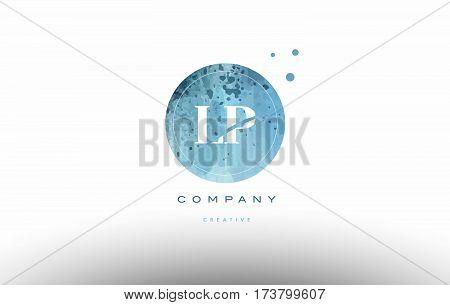 Lp L P  Watercolor Grunge Vintage Alphabet Letter Logo
