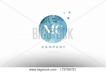 Mc M C  Watercolor Grunge Vintage Alphabet Letter Logo