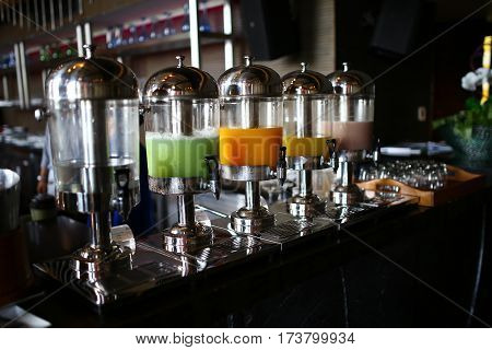 Beverage buffet line of a hotel in Pattaya