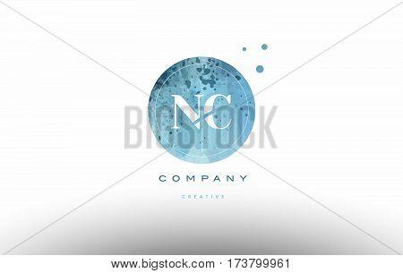 Nc N C  Watercolor Grunge Vintage Alphabet Letter Logo