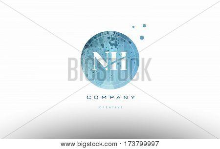 Nh N H  Watercolor Grunge Vintage Alphabet Letter Logo