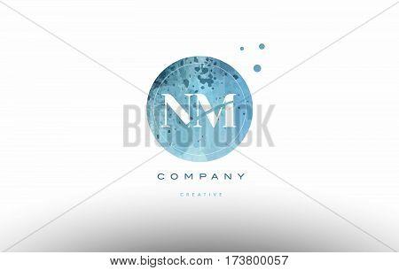 Nm N M  Watercolor Grunge Vintage Alphabet Letter Logo